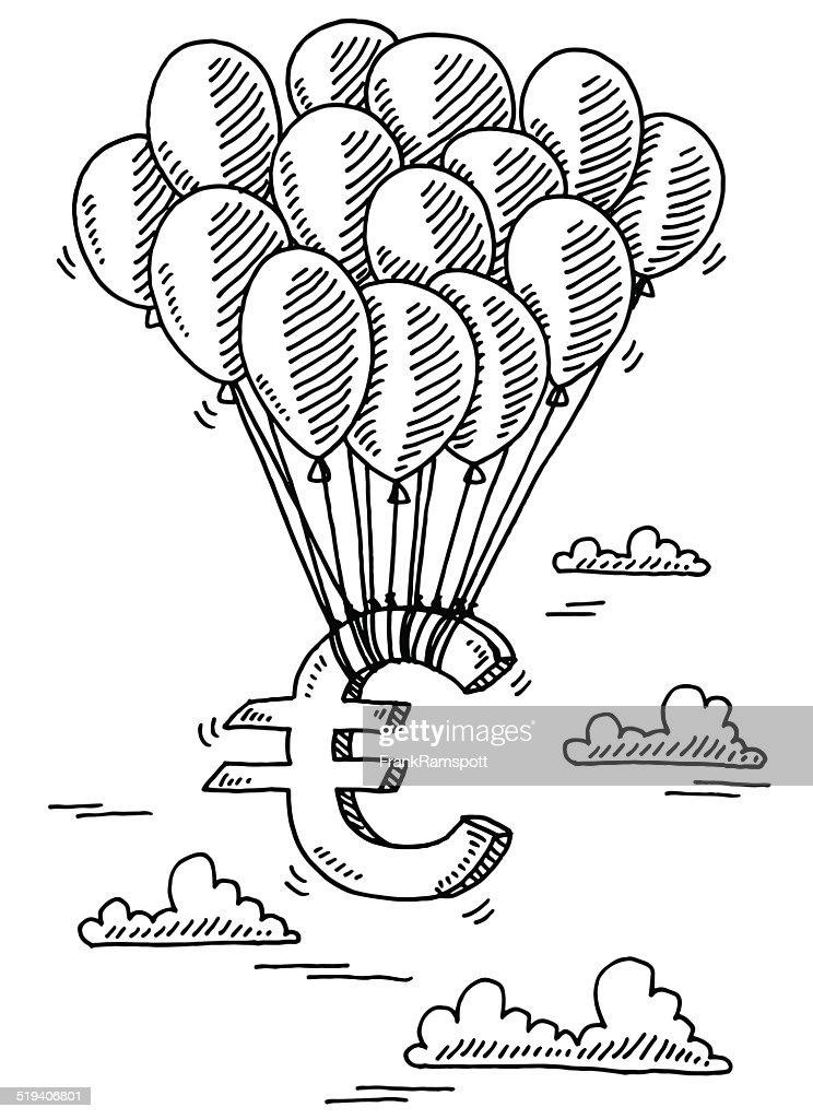 Euro Symbol Flying Balloons Drawing