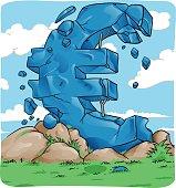 Euro symbol in crash for european crisis concept
