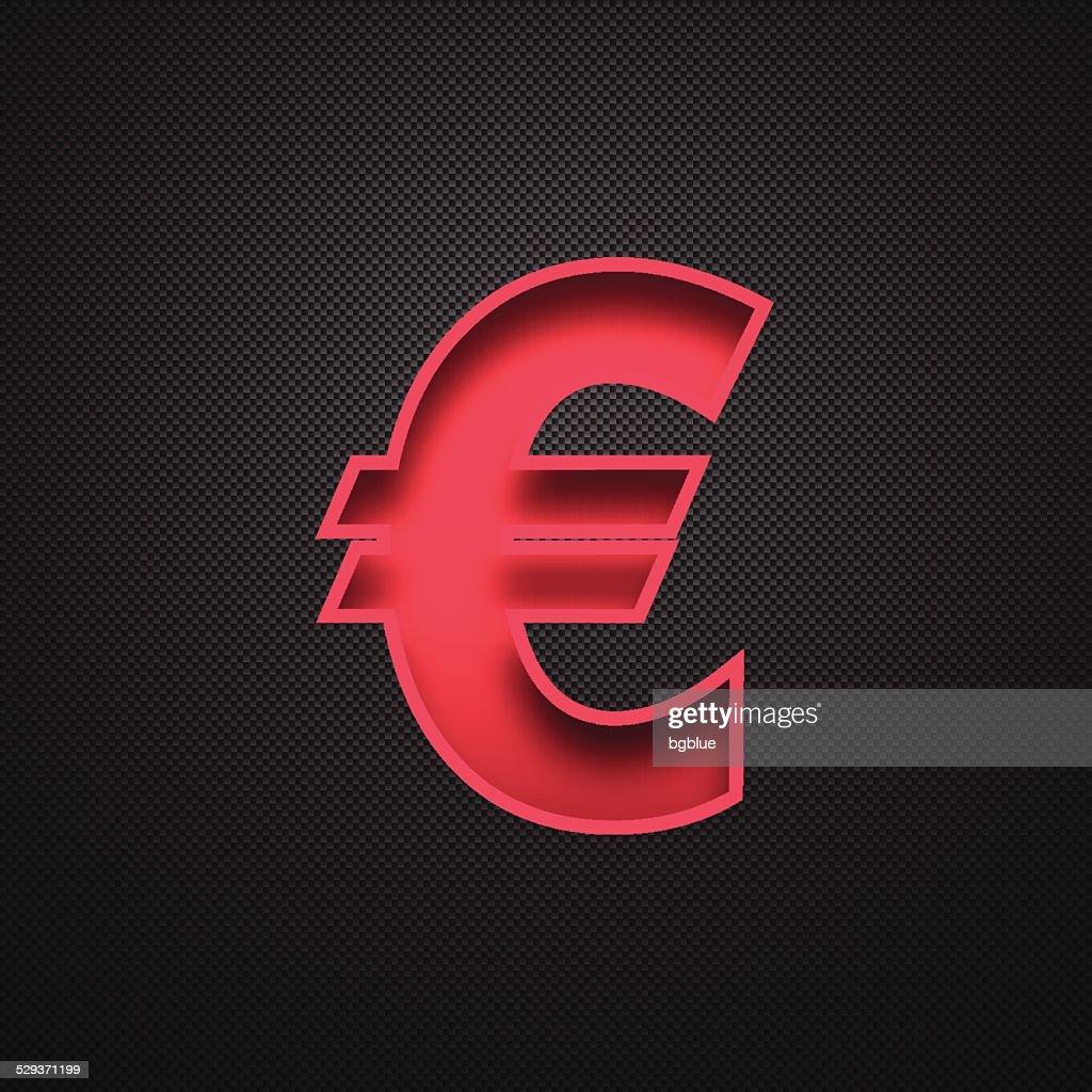 Euro Symbol Red Symbol On Carbon Fiber Background Vector Art Getty