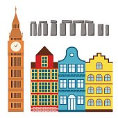 Euro trip tourism travel design famous building and euro adventure international vector illustration