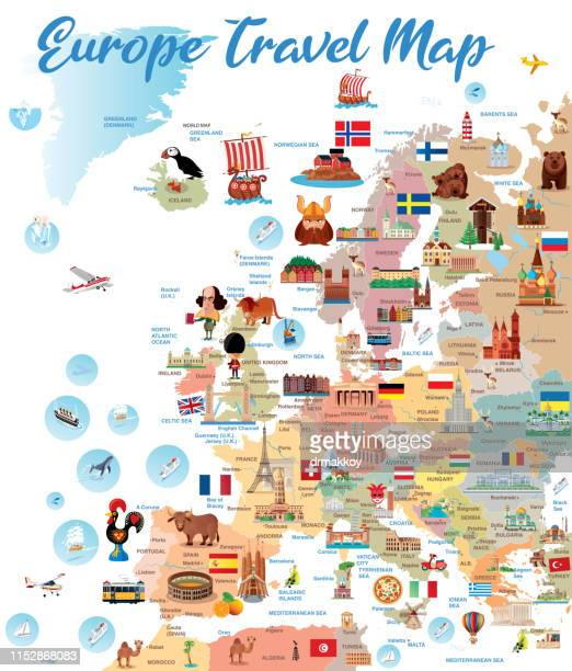 europ travel map - europe stock-grafiken, -clipart, -cartoons und -symbole