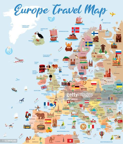 europ travel map - all european flags stock illustrations