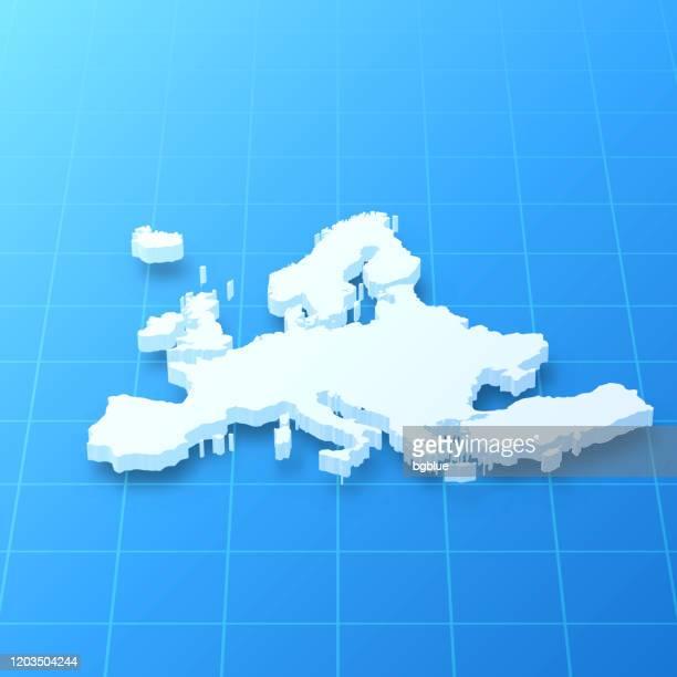 europa 3d karte auf blauem hintergrund - europa kontinent stock-grafiken, -clipart, -cartoons und -symbole
