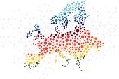 Europe abstract background with dot connection vector