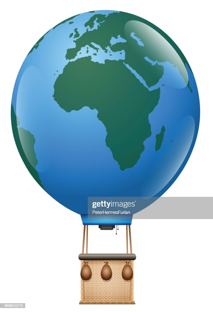 Europe Africa Trip - hot air balloon tour with planet earth balloon and vintage basket around the world - isolated vector illustration on white background.