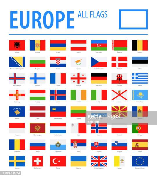 europe all flags - vector rectangle flat icons - national landmark stock illustrations