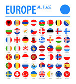 Europe All Flags - Vector Round Flat Icons