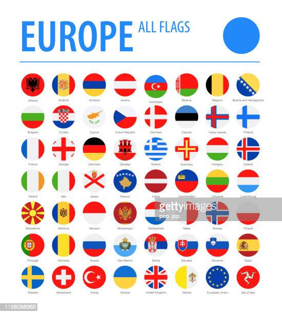 europe all flags - vector round flat icons - flag stock illustrations