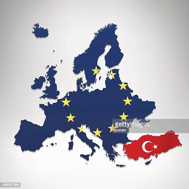 europa und türkei flagge karte grauraum hintergrund - türkei stock-grafiken, -clipart, -cartoons und -symbole