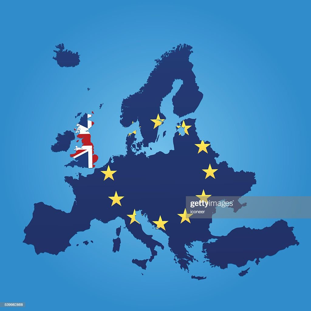 Europe and United Kingdom flag map on blue background : Vector Art