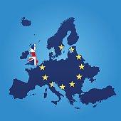 Europe and United Kingdom flag map on blue background