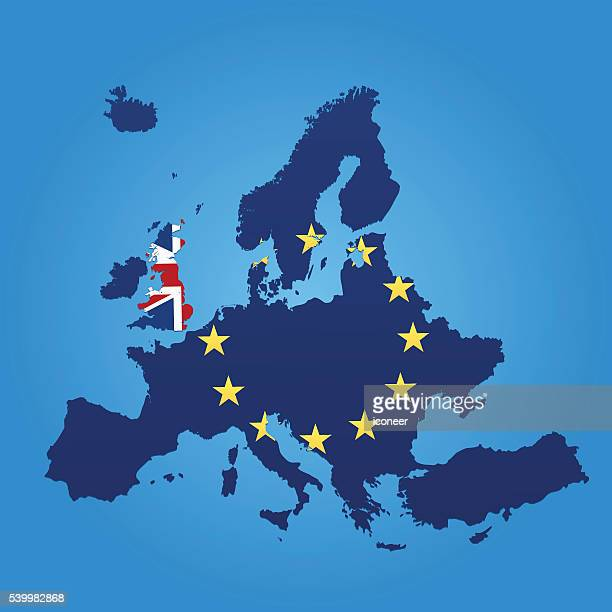 europe and united kingdom flag map on blue background - brexit stock illustrations