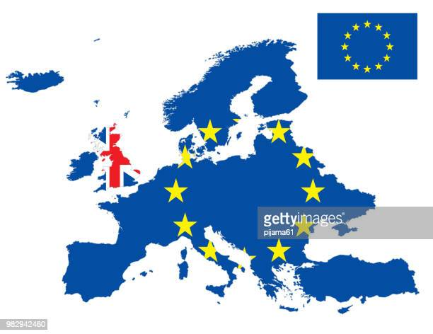 illustrations, cliparts, dessins animés et icônes de carte de drapeau europe et royaume-uni - brexit