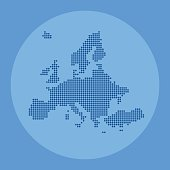 Europe blue dotted map on circlular background