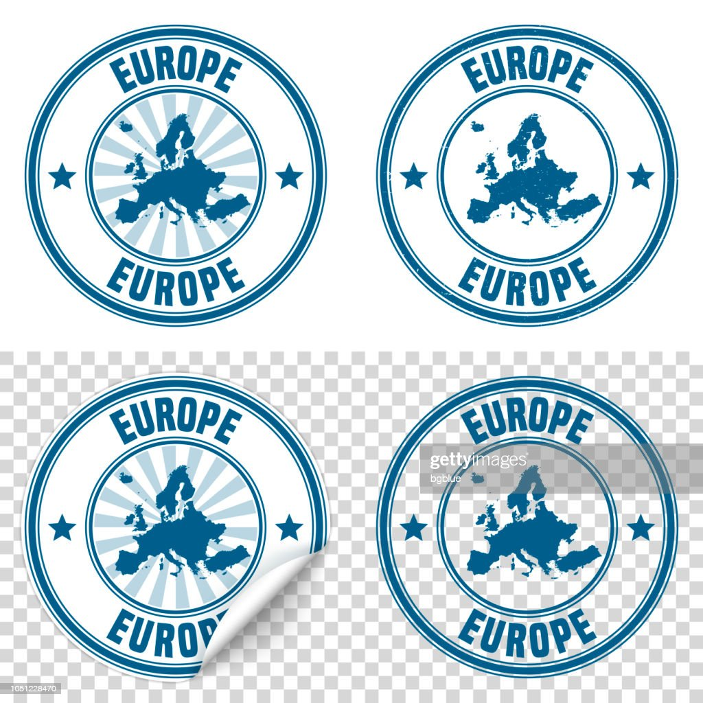 Europe - Blue sticker and stamp with name and map