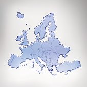 Europe bue inked charcoal scribbled map on grey background