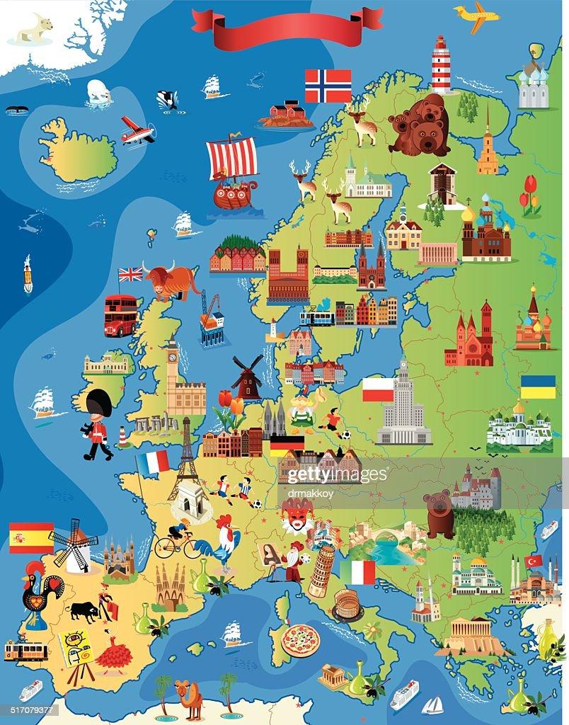 Europe Cartoon map : stock illustration