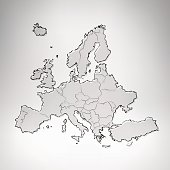 Europe charcoal scribbled map on grey background