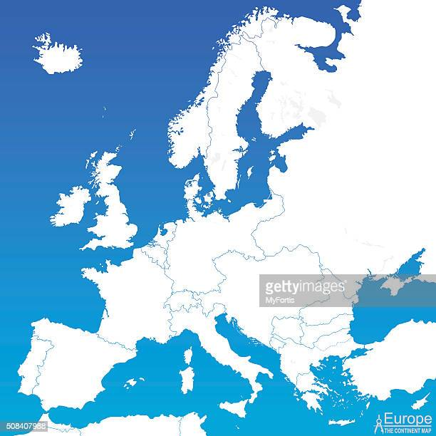 europe continent map. - italy vs norwegian stock illustrations