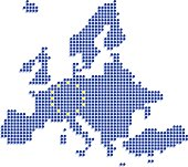 Europe dot map with EU flag on white background
