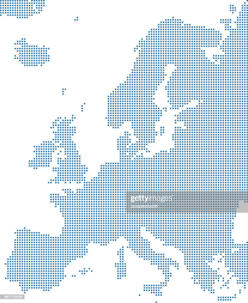 Europe dotted map. Europe map dots. Highly detailed pixelated Europe continent map vector outline illustration in blue background