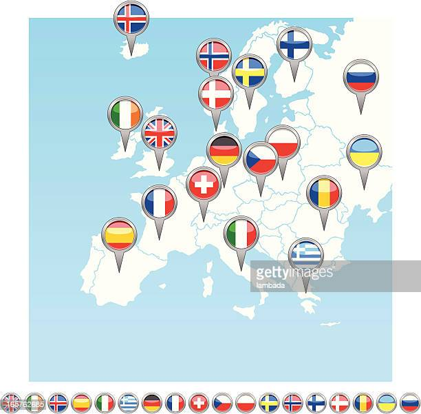 Europe flag icons and map