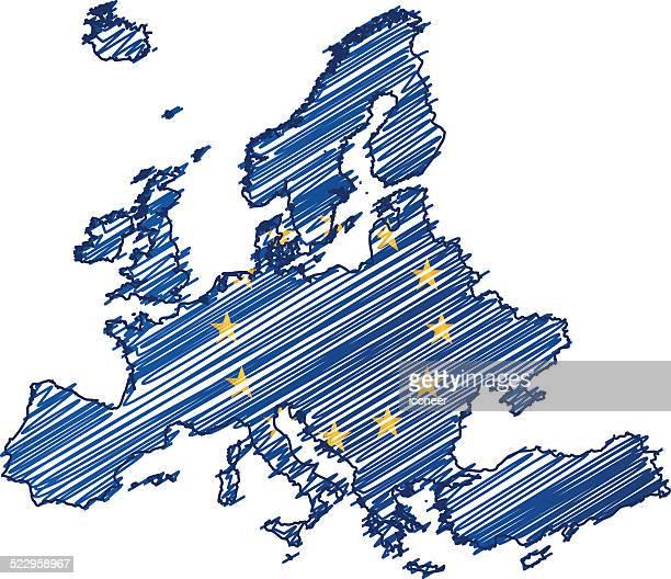 europa-flagge karte auf weißem hintergrund - europäische union stock-grafiken, -clipart, -cartoons und -symbole