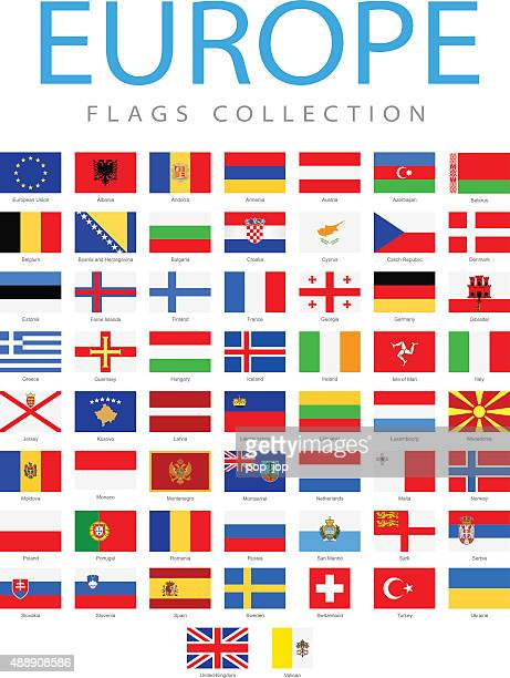 europe - flags - illustration - all european flags stock illustrations
