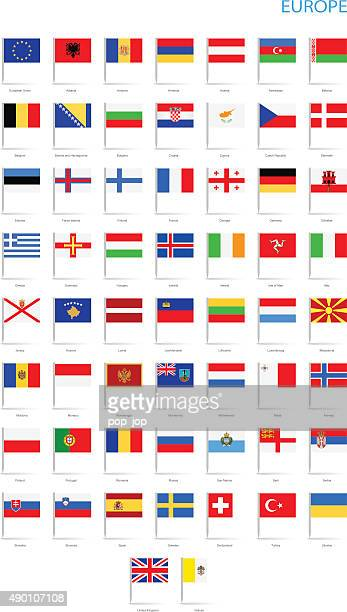 Europe - Flat Flag Pins - Illustration