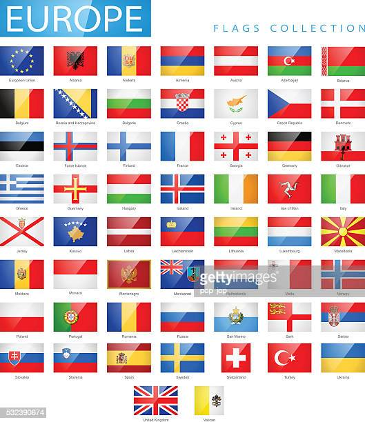 europe - flat glossy rectangle flag icons - illustration - all european flags stock illustrations