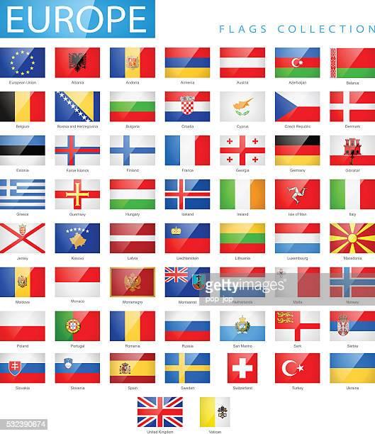 Europe - Flat Glossy Rectangle Flag Icons - Illustration