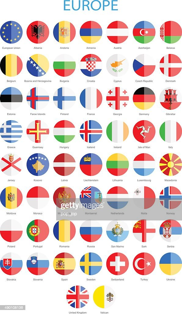 Europe - Flat Round Flags - Illustration