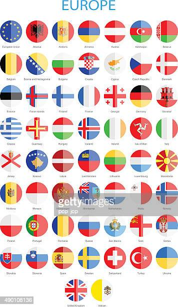 europe - flat round flags - illustration - all european flags stock illustrations