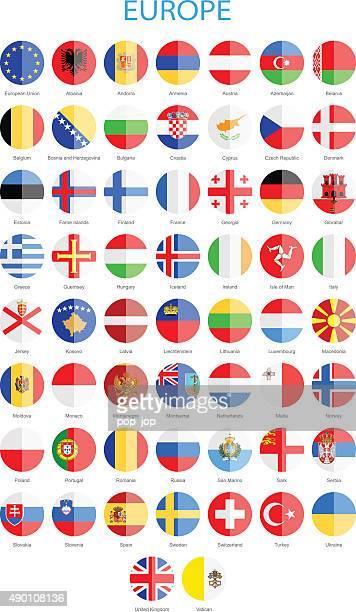 Europe - Flat Round Flags - Illustration