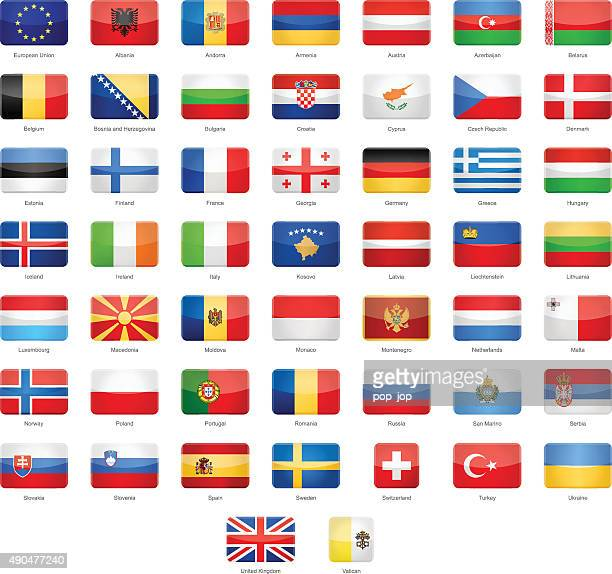 Europe - Glossy Rectangle Flags - Illustration