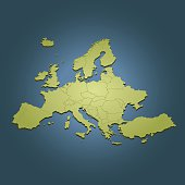 Europe green map on dark blue background in perspective view