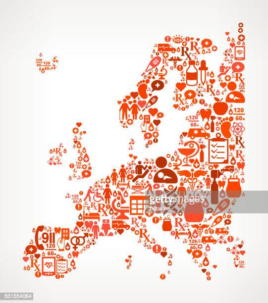europe healthcare and medical red icon pattern - cardiac conduction system stock illustrations
