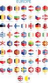 Europe - Hexagonal Flags - Illustration