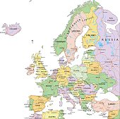 Europe - Highly detailed editable political map with separated layers.