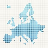 Europe Map Blue Dot Pattern