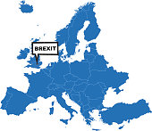 Europe map blue with Brexit label on United Kingdom