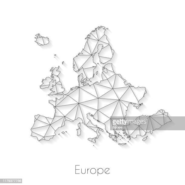 illustrazioni stock, clip art, cartoni animati e icone di tendenza di europe map connection - network mesh on white background - europa continente