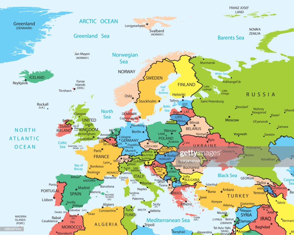 Europe Map Countries And Cities Vector Art Getty Images - Europe map with cities and countries