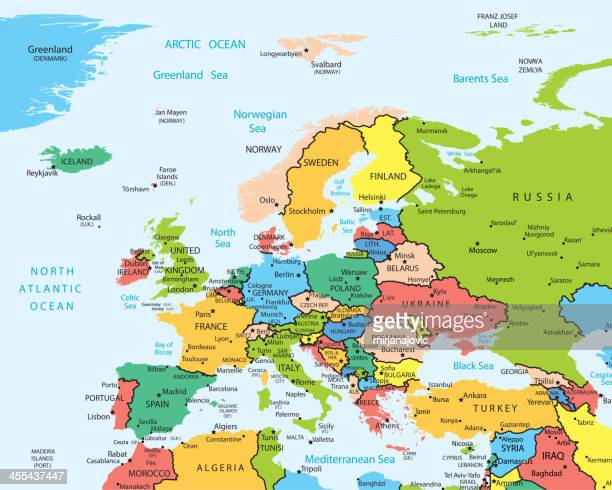 europe map countries and cities - eastern europe stock illustrations, clip art, cartoons, & icons