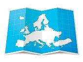 Europe Map folded, isolated on white Background