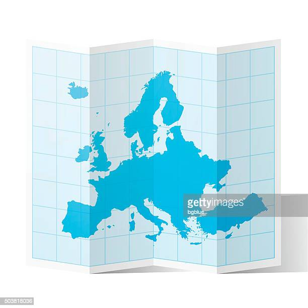 Europe Map folded, isolated on white Background