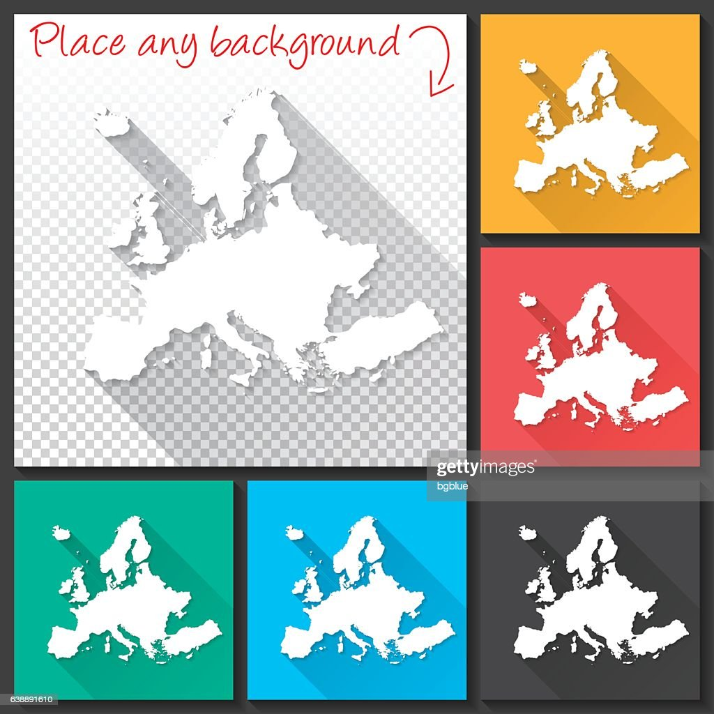 Europe Map for design, Long Shadow, Flat Design