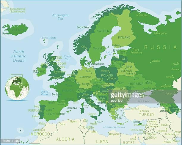 europa karte vollständige - ukraine stock-grafiken, -clipart, -cartoons und -symbole
