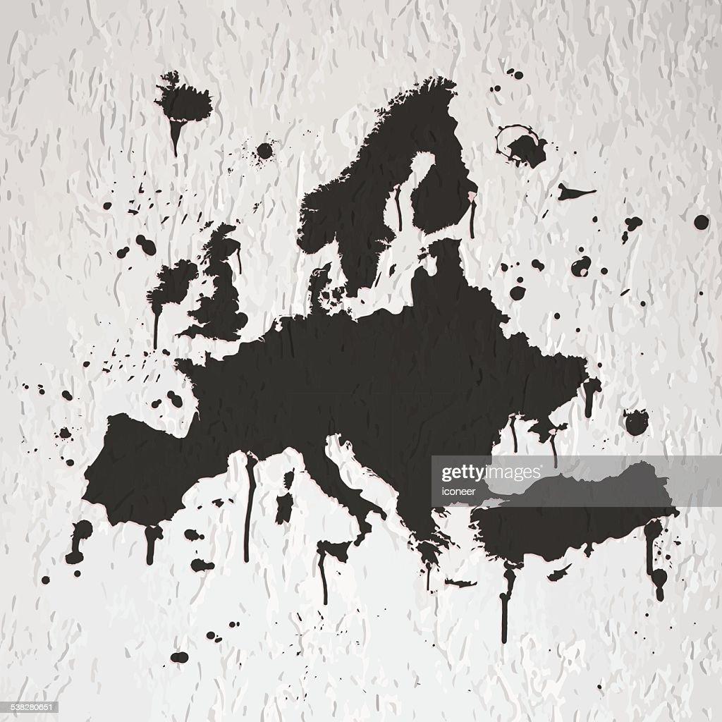 Europe Map Graffiti Black Splats On Wall Vector Art Getty Images