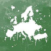 Europe map graffiti green splats on green wall